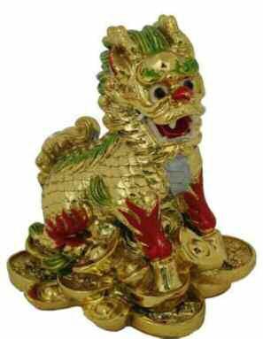 Sculpture asiatique d'un chien-lion