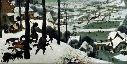"""""""Chasseurs dans la neige"""" Peinture de Pieter Bruegel (ou Breugel ou Brueghel ou Breughel) l'ancien (1525-1569). 1566. Dim. 117x162 cm Vienne. Kunsthistorisches Museum ©Luisa Ricciarini/Leemage. ©Luisa Ricciarini/Leemage"""