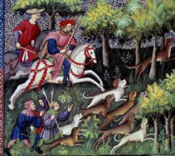 """""""La chasse au renard"""" Miniature tirée de """"Le livre de la chasse"""" de Gaston III Phoebus, Comte de Foix, Seigneur de Béarn (1331- 1391), 1387-1388.Chantilly, Musée Condé. ©Photo Josse/Leemage"""