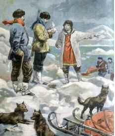 Robert Edwin Peary (1856 - 1920) atteint le Pôle Nord en 1909. Illustration de l'époque. ©Costa/Leemage